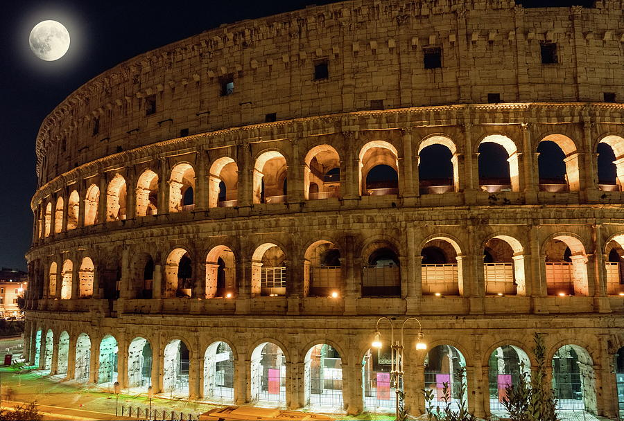 Roman Colosseum With The Moon Photograph