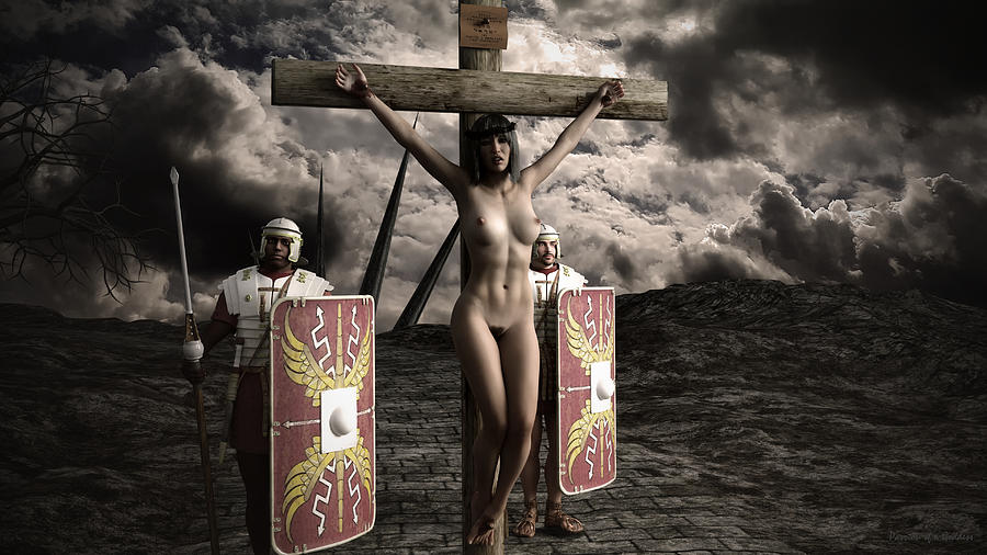 Drawing of female roman crucifixion bdsm