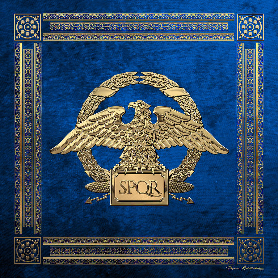 Roman Empire - Gold Roman Imperial Eagle over Blue Velvet by Serge Averbukh