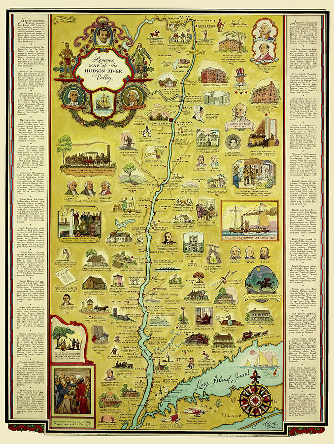 Romance Map of the Hudson River Valley 1937 by Phil Cardamone