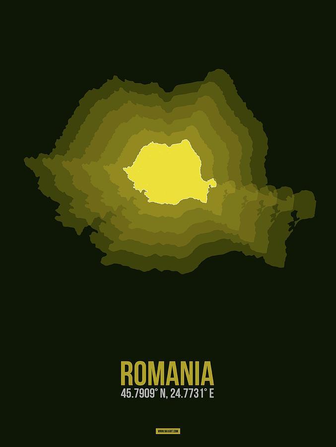 Romania Digital Art - Romania Radiant Map II by Naxart Studio