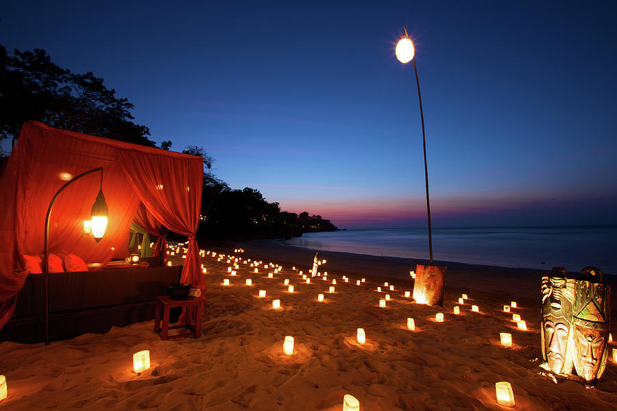 Romantic Beach Front Dinner At Tropical Photograph by Ekash