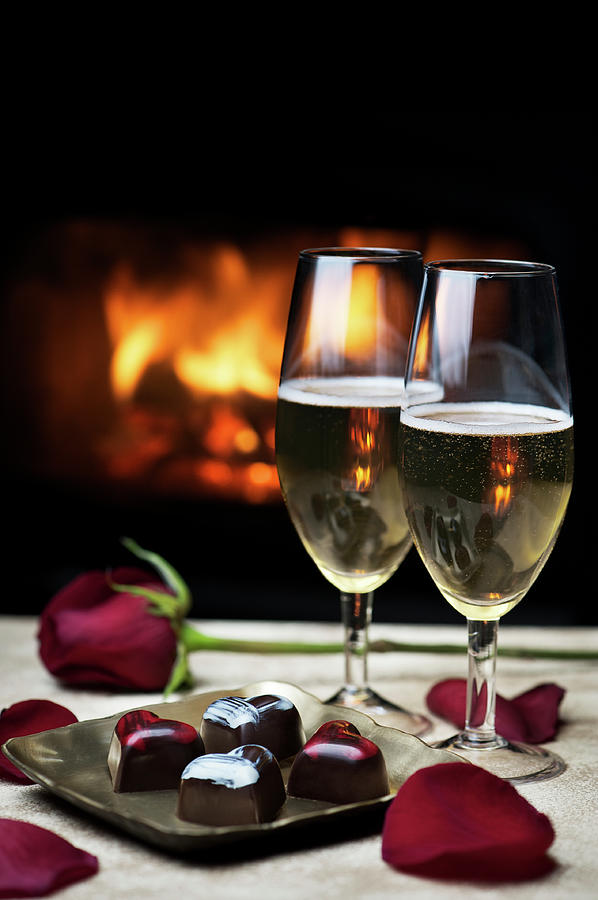 Romantic Evening By The Fire Photograph by Nightanddayimages
