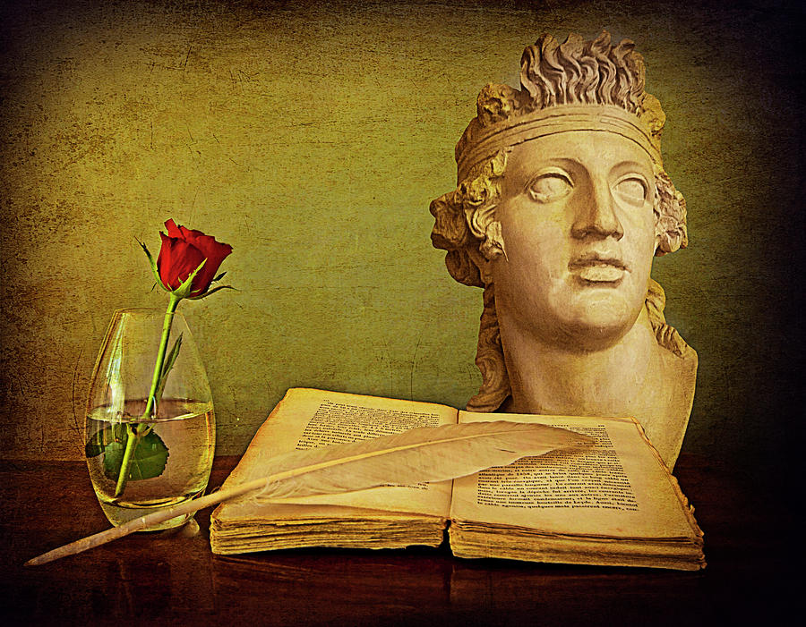 Romantic still life, antique book and rose by Luisa Vallon Fumi