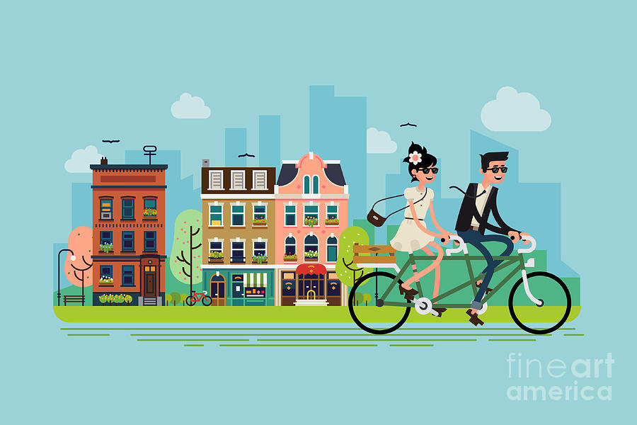 Couple Digital Art - Romantic Vector Concept Illustration On by Mascha Tace
