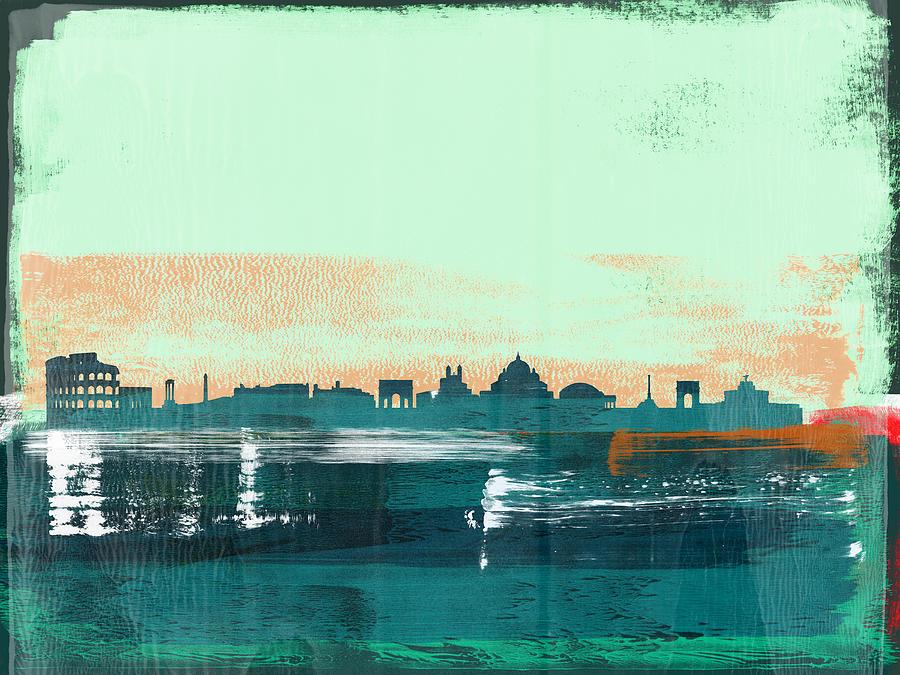 Rome Mixed Media - Rome Abstract Skyline I by Naxart Studio