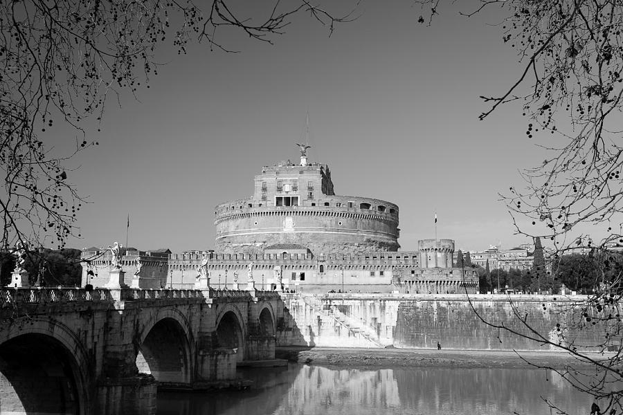 Angels Photograph - Rome And Castel Santangelo BW by Stefano Senise