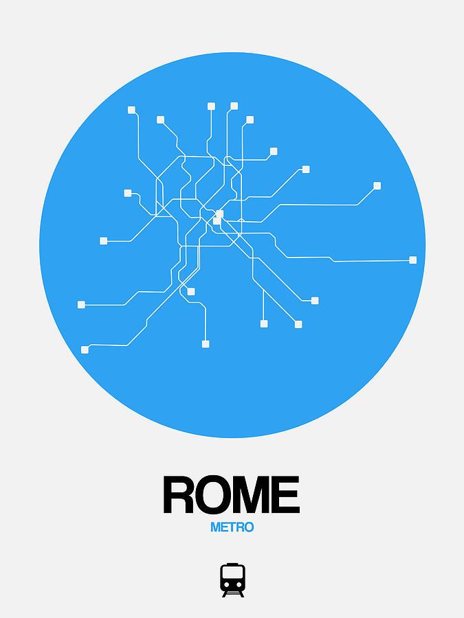 Rome Digital Art - Rome Blue Subway Map by Naxart Studio