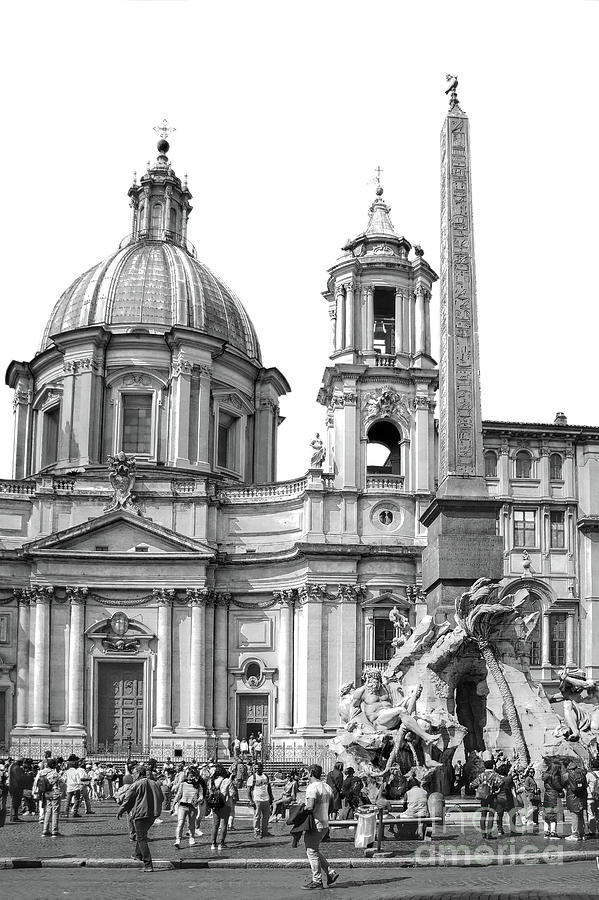 Church Photograph - Rome BW - Church St. Angnese In Agona And Egyptian Obelisk by Stefano Senise