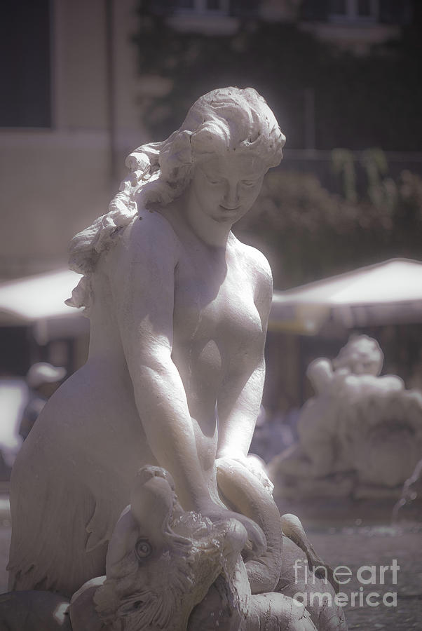 Naiad Photograph - Rome BW - Fountain of Neptune by Stefano Senise