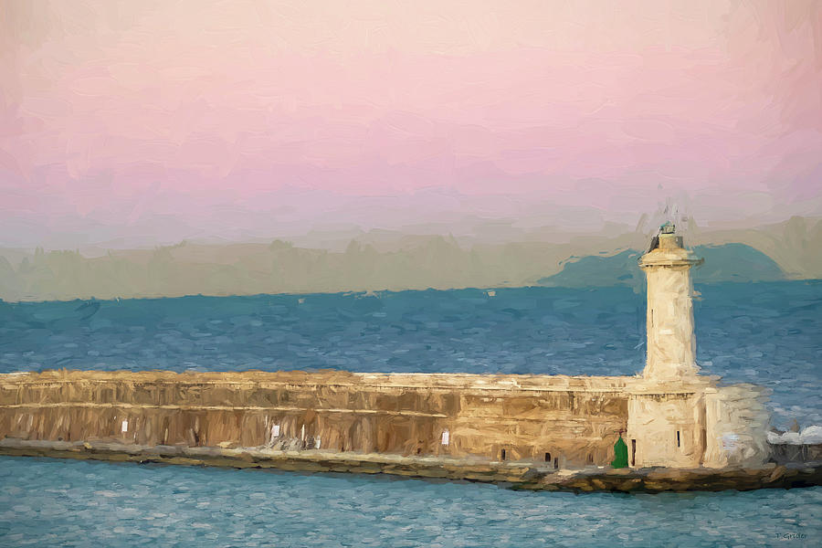 Harbor Photograph - Civitavecchia Seaport at Sunrise by Tony Grider