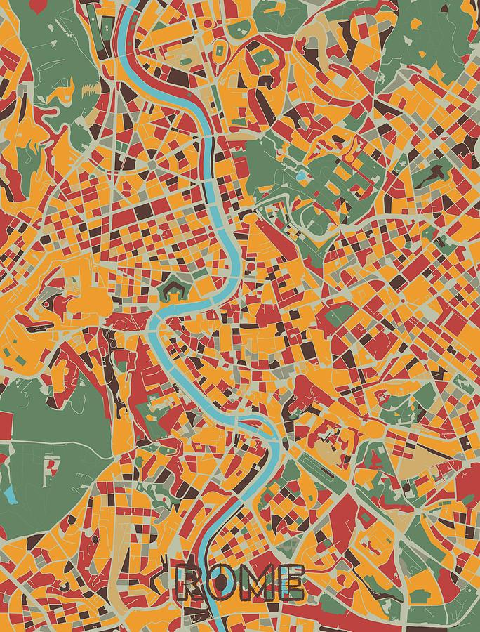 Rome Map Retro