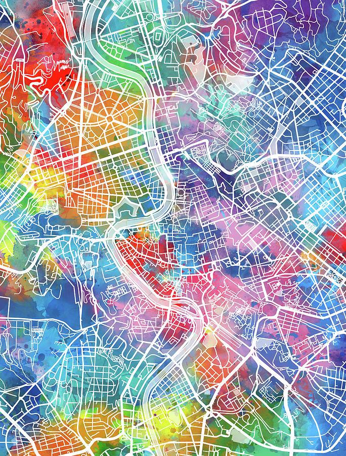 Rome Digital Art - Rome Map Watercolor by Bekim M