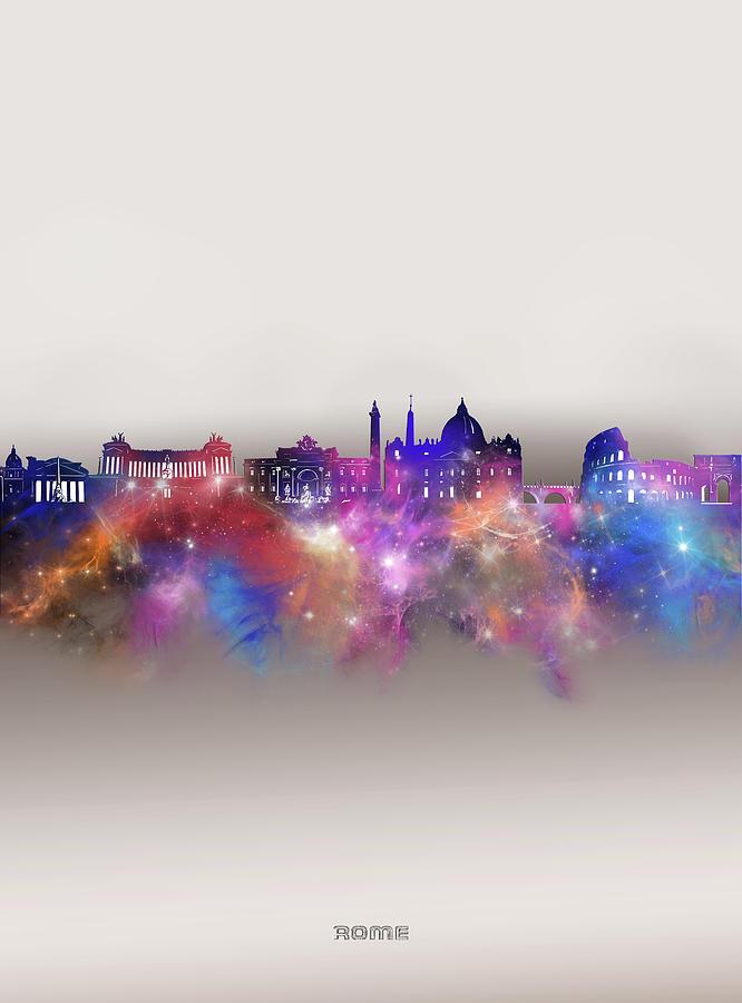 Rome Digital Art - Rome Skyline Galaxy by Bekim M