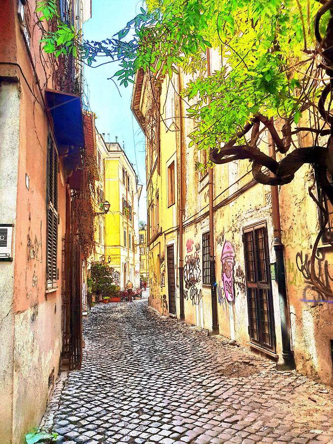 Rome Street in Watercolor by Andrea Whitaker