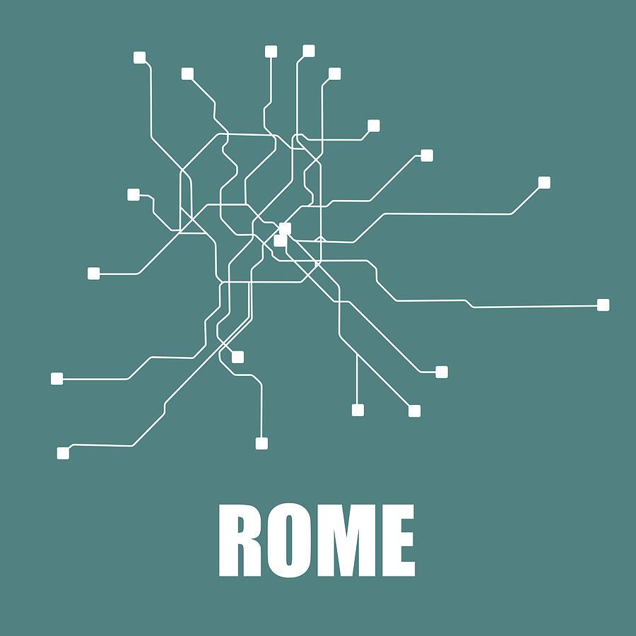 Rome Digital Art - Rome Teal Subway Map by Naxart Studio