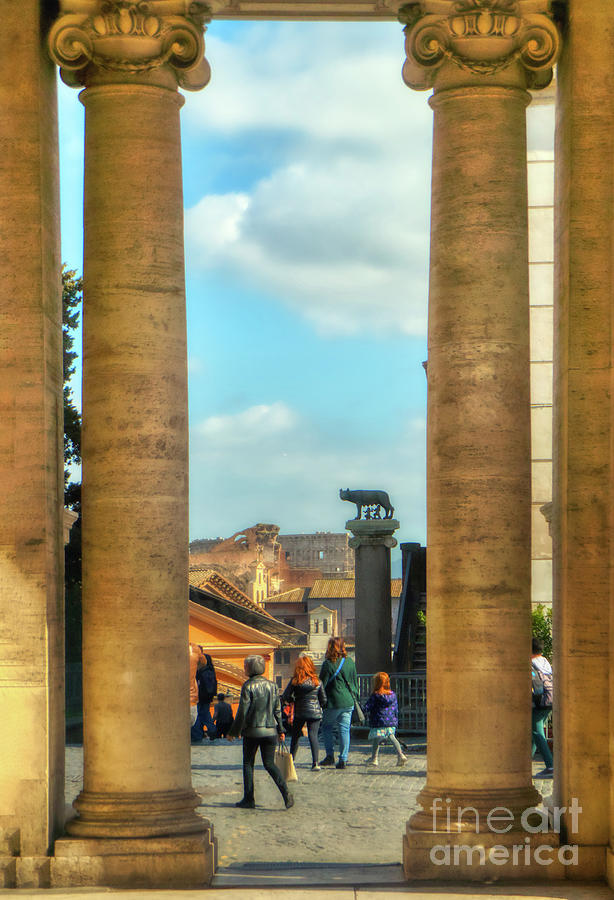 Rome Photograph - Rome Through The Marble Roman Columns by Stefano Senise