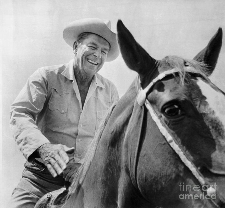 Ronald Reagan Riding His Horse Photograph by Bettmann