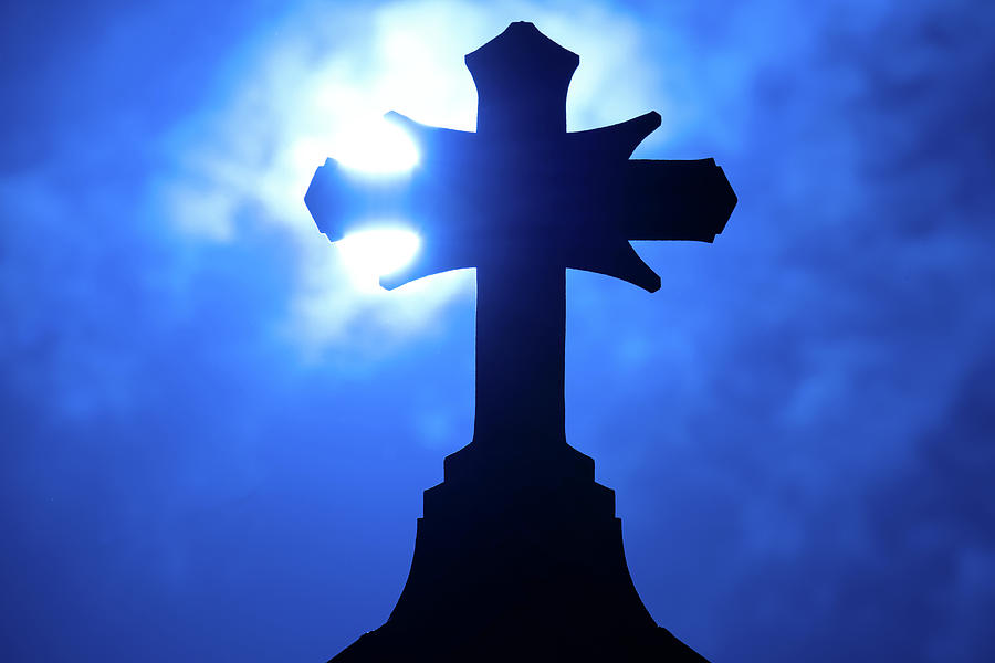 Rooftop Cross Silhouette Photograph
