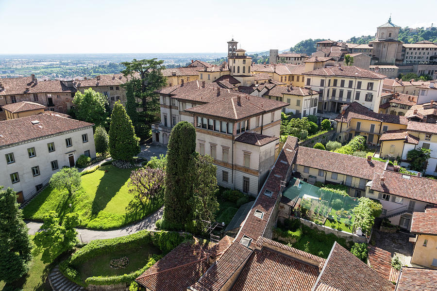 Rooftops and Gardens - Citta Alta Upper Town in Bergamo Lombardy Italy by Georgia Mizuleva
