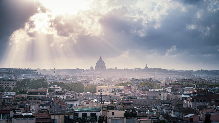 Rooftops Of Rome Under Dramatic Sky Photograph