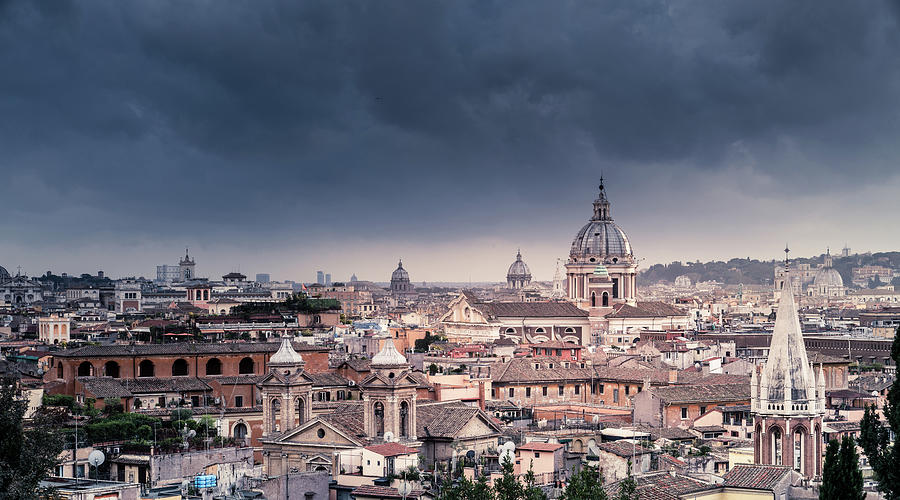 Rooftops Of Rome Under Stormy Sky Photograph