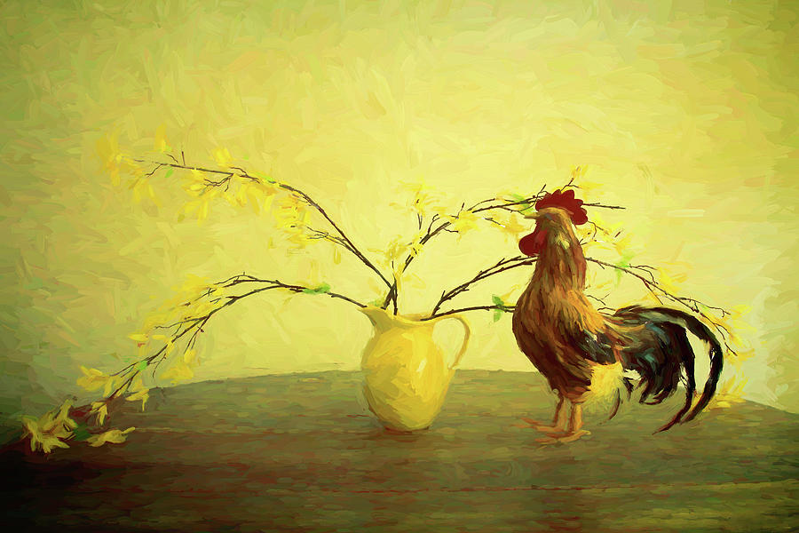 ROOSTER AND VASE INSPIRED BY VAN GOGH by TONY GRIDER