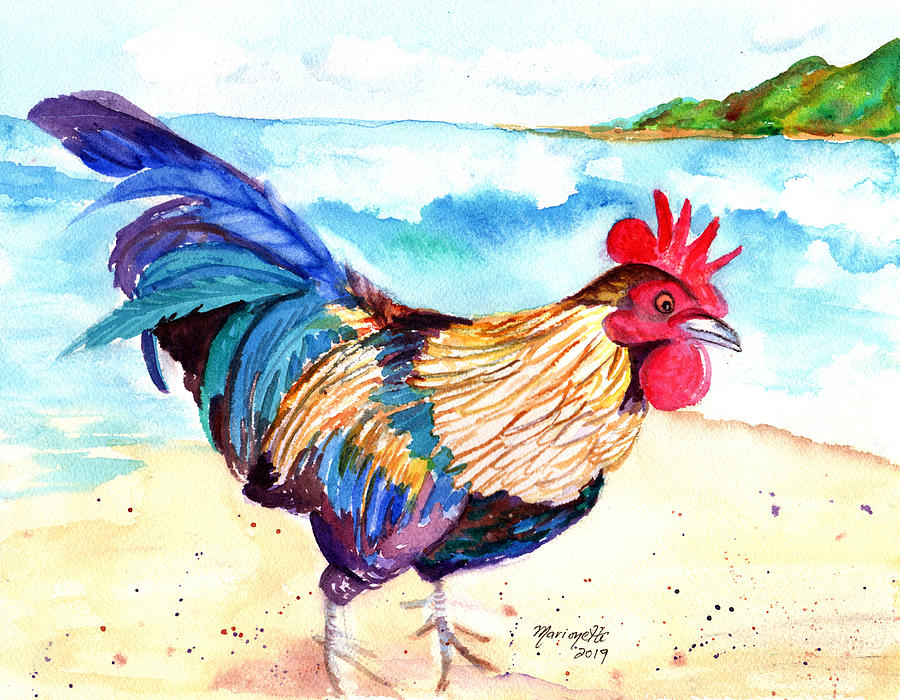 Rooster at the Beach by Marionette Taboniar