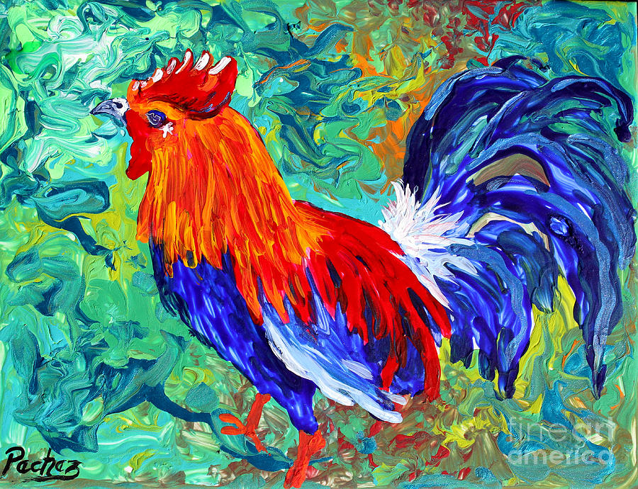 Rooster on tile by Pechez Sepehri