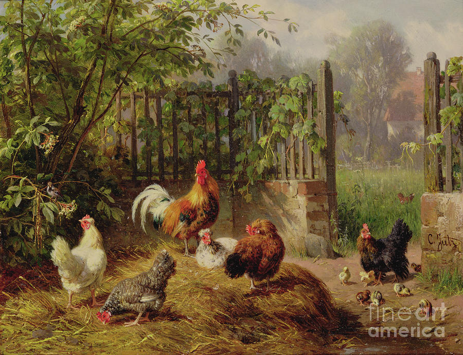 Carl Painting - Rooster With Hens And Chicks by Carl Jutz