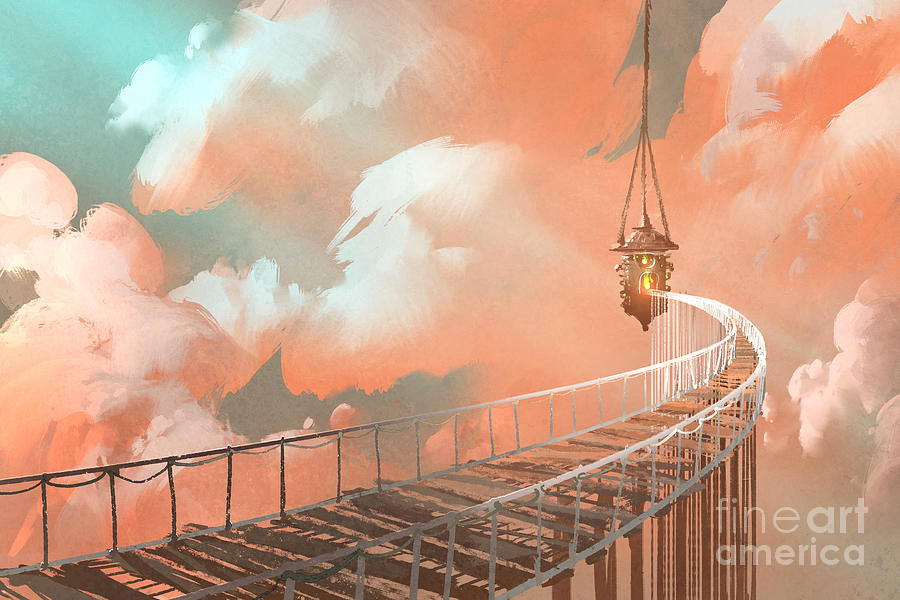 Concept Digital Art - Rope Bridge Leading To The Hanging by Tithi Luadthong