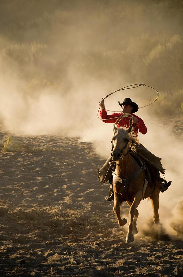 Roping Cowboy On Running Horsekicking Photograph by Garyalvis