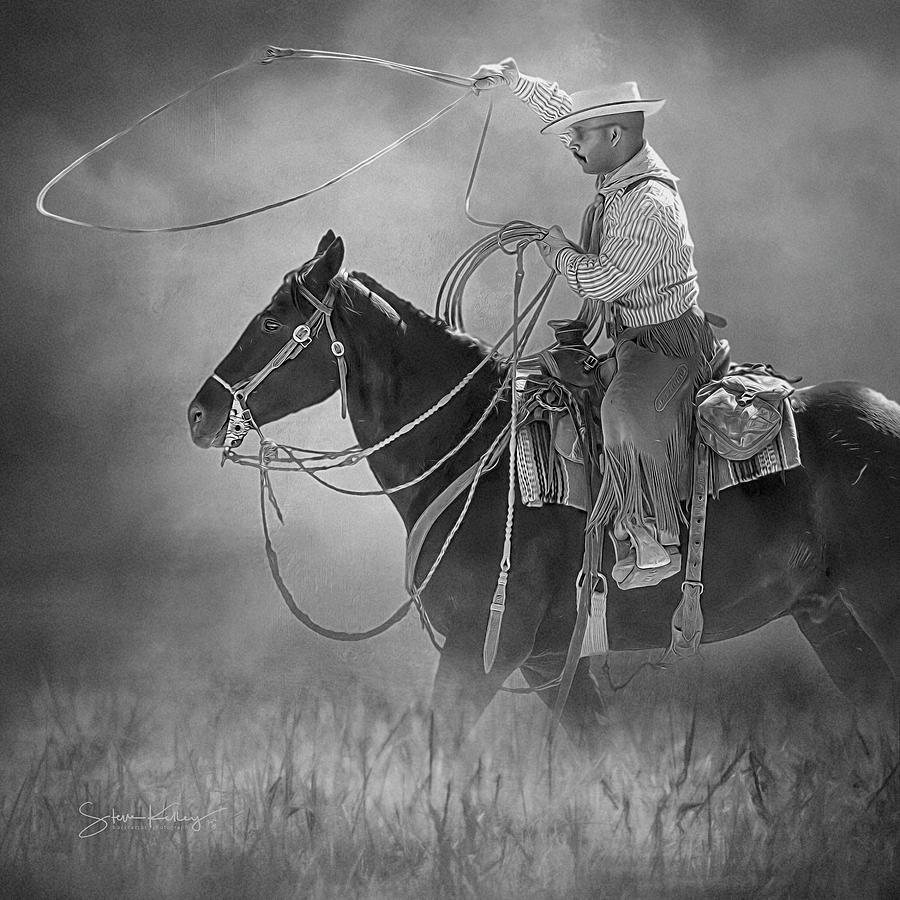 Roping Wrangler BW by Steve Kelley