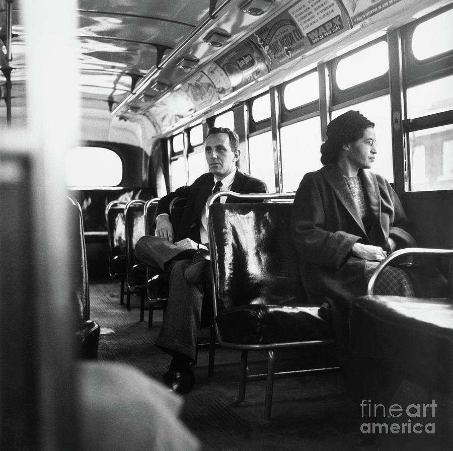 Rosa Parks Riding The Bus Photograph by Bettmann