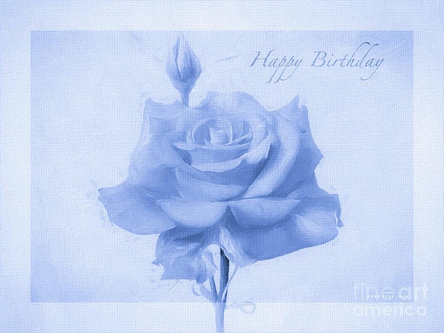Rosalina Soft Blue Happy Birthday Roses Photograph