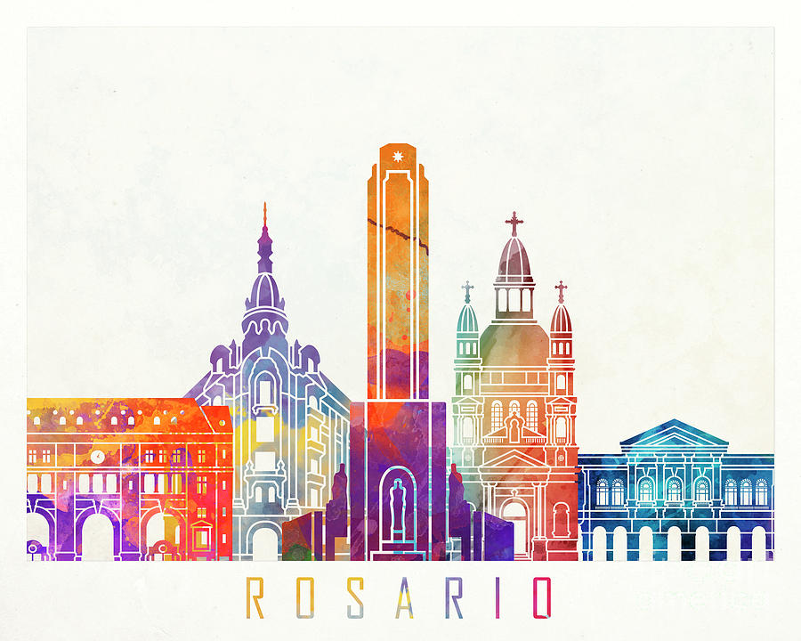 Rosario landmarks watercolor poster by Pablo Romero