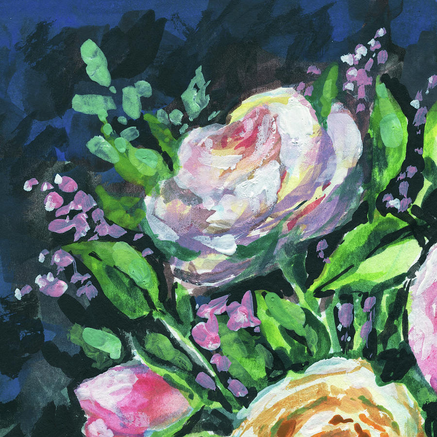 Rose And Lilac Flowers Bouquet Floral Impressionism  by Irina Sztukowski