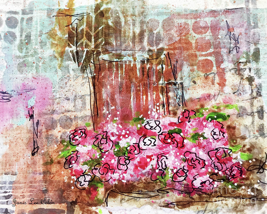 Roses Mixed Media - Rose Bundle With Copper Pot by Janis Lee Colon