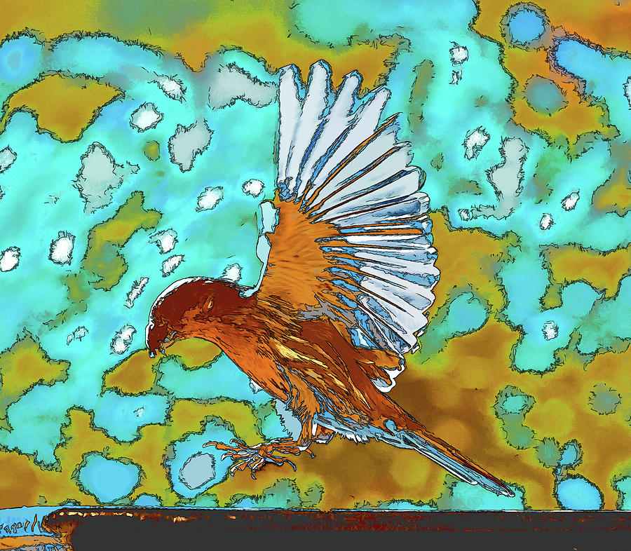 Rose Finch Landing Abstract 2 by Linda Brody