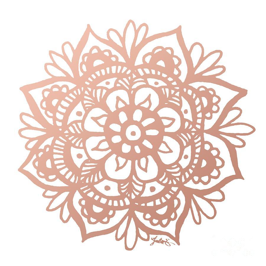 Rose Gold Mandala Drawing By Julie Erin Designs