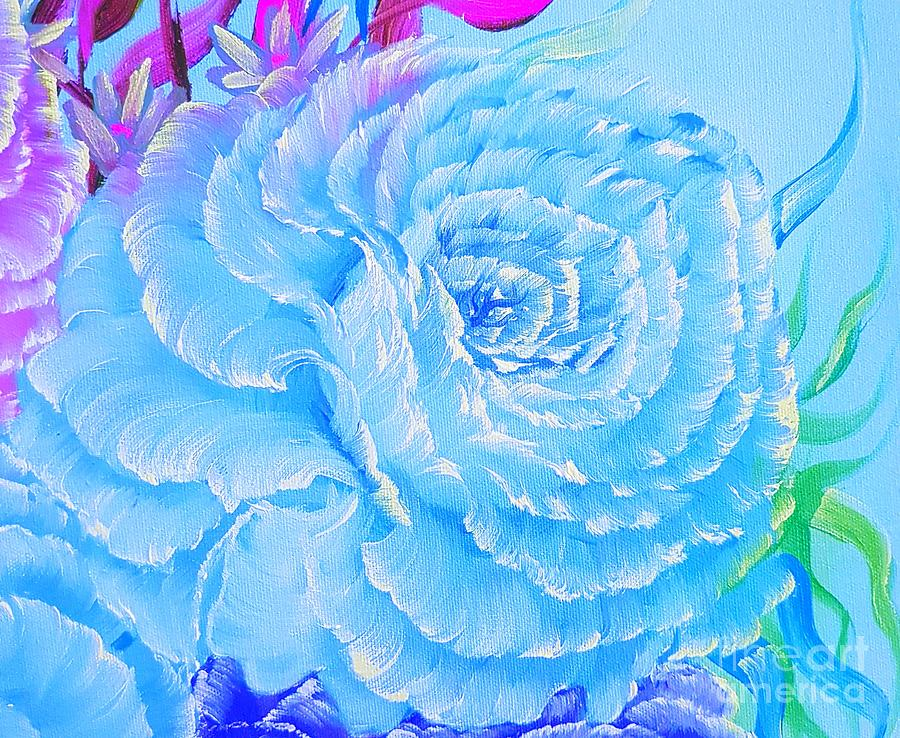 Blue Painting - Rose Romance Pretty Blue Glow  by Angela Whitehouse