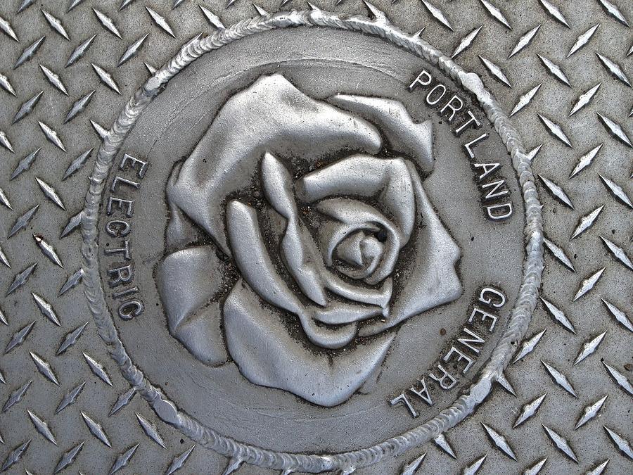 Rose Photograph - Rose Sidewalk Grate by Norman Burnham
