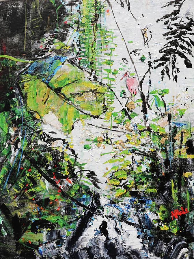 Roseate Spoonbill Painting - Roseate Spoonbill Amazonia Washington Zoo 201922 by Alyse Radenovic