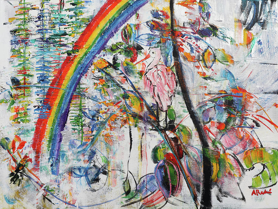 Roseate Painting - Roseate Spoonbill And Rainbow 201923 by Alyse Radenovic
