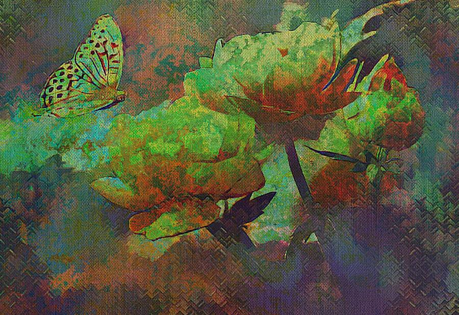 Roses and Butterfly in Abstract Colours by Clive Littin