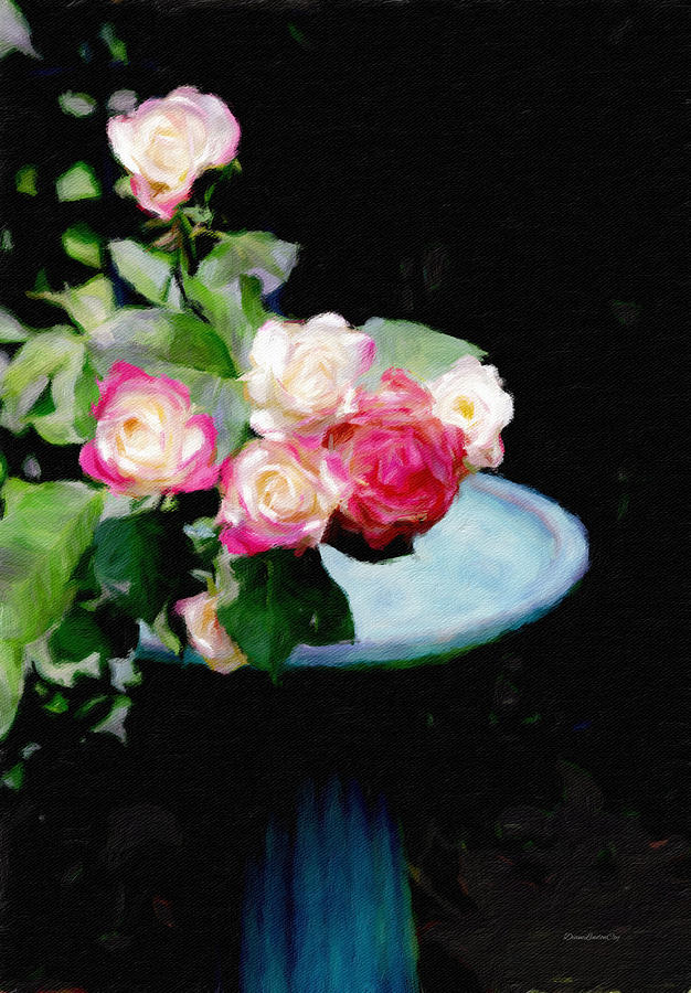 Roses at the Bird Bath 1 by Diane Lindon Coy