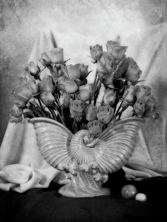 Roses in Vintage Vase by Sandra Selle Rodriguez