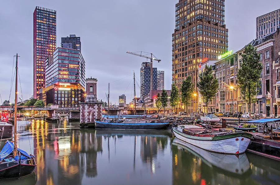 Rotterdam Wijnhaven in the blue hour by Frans Blok