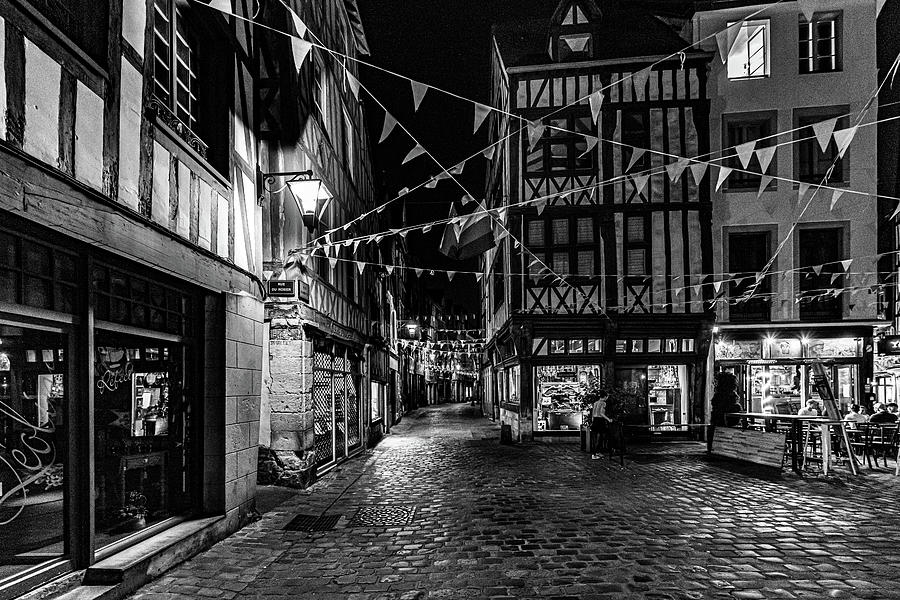 Rouen at Night Monochrome by Randy Scherkenbach