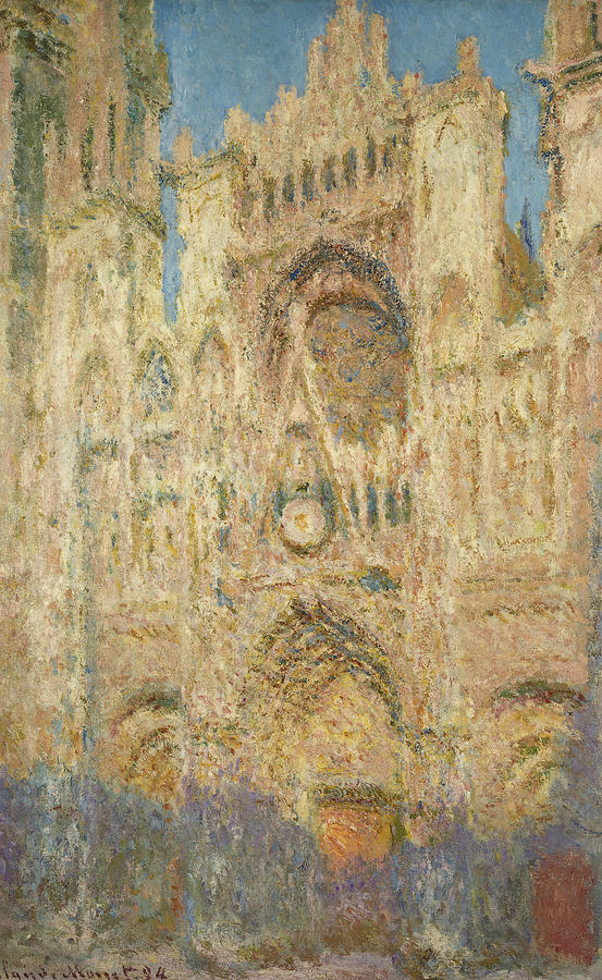 Claude Monet Painting - Rouen Cathedral In The Evening, 1894 by Claude Monet